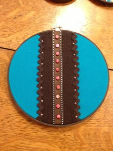 turquoise, brads, and beads