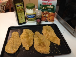 breaded with olive oil
