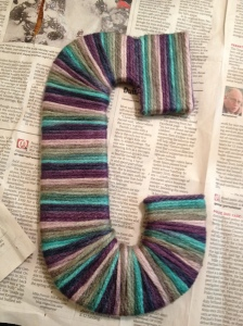 letter c yarn wrap complete