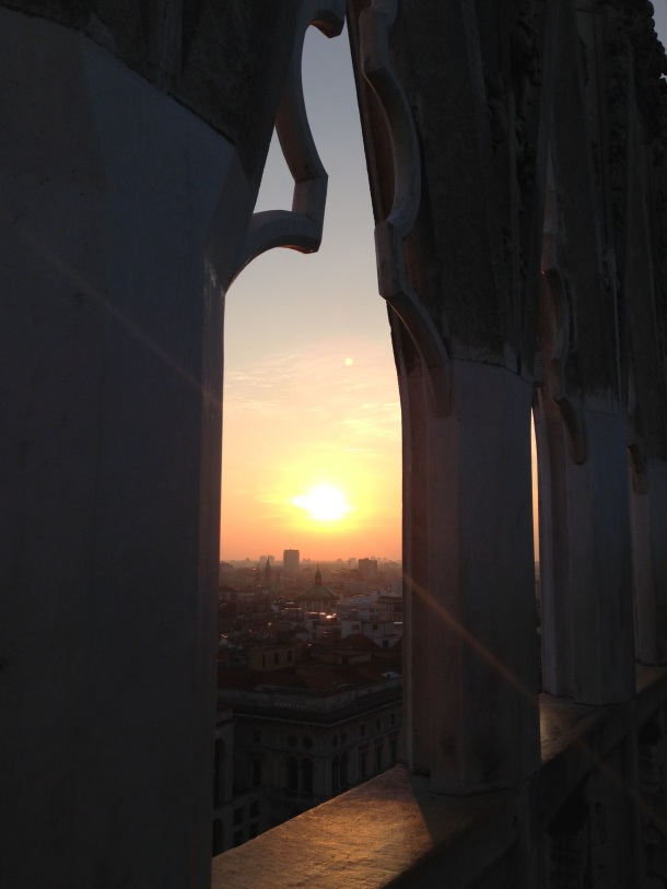 sunset over milan