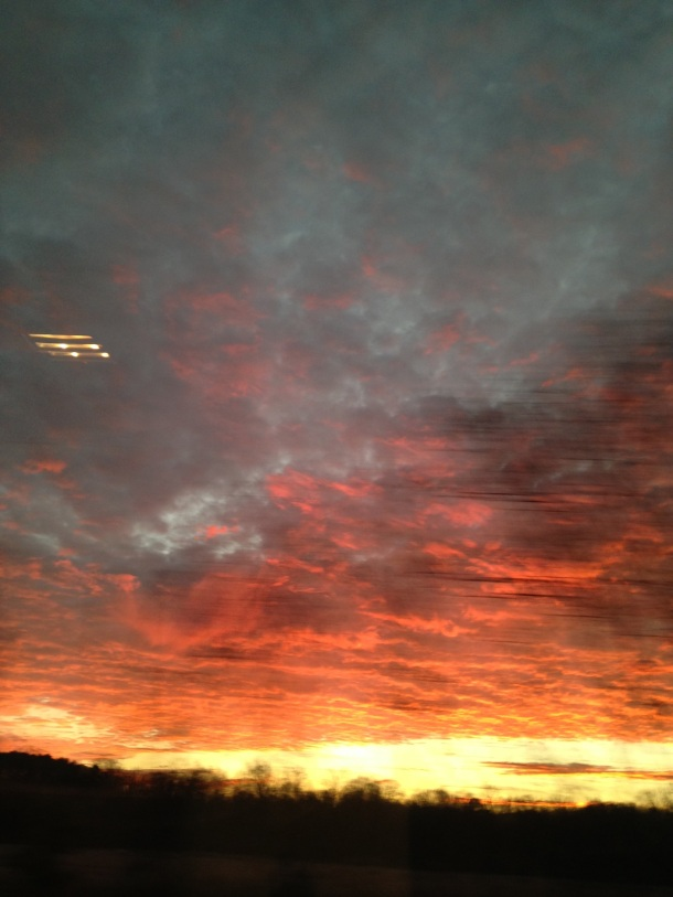 Dawn sky on a train